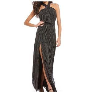 Halston | NWT Halter Polka Dot Primrose Chiffon Maxi Gown Cocktail Dress